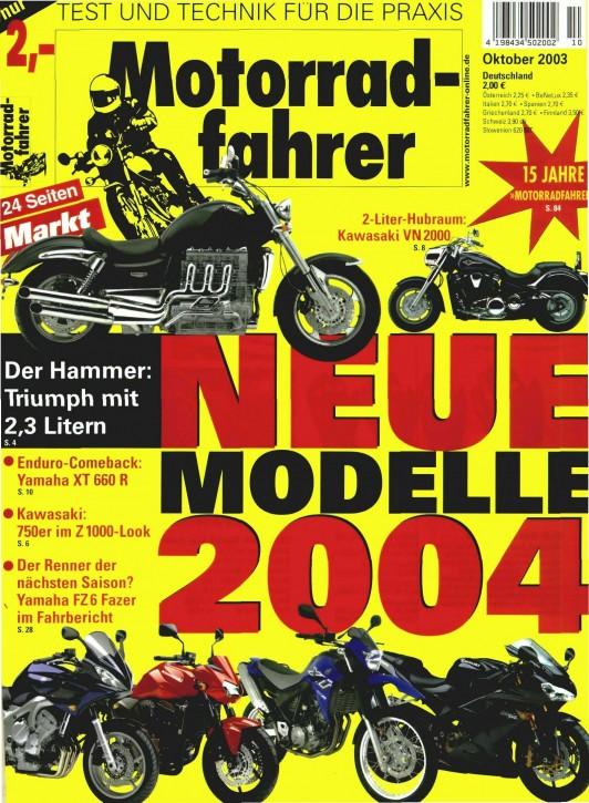 MOTORRADFAHRER Oktober 2003