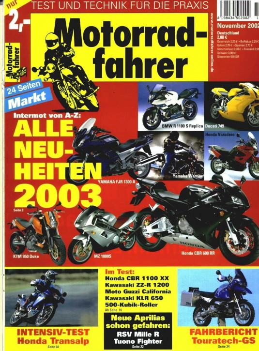 MOTORRADFAHRER November 2002